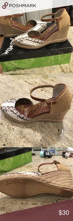 Sam Edelman closed toe wedge/espadrille Ivory snake skin leather upper. Beige/taupe rope look. Size 8 1/2 3 inch wedge. Excellent condition worn two times. No stains or marks . Soles are not worn at all as shown in photos. Box included. Sam Edelman Shoes Espadrilles