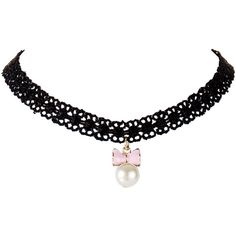 Bow Faux Pearl Lace Choker ($1.73) ❤ liked on Polyvore featuring jewelry, necklaces, fake pearl necklace, imitation pearl necklace, lace jewelry, choker necklace and bow jewelry