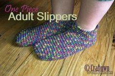 Free Crochet Pattern - Adult One Piece Slippers