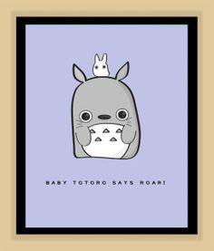 Baby Totoro Nursery Art Miyazaki and Ghibli by modernhomeprints, $7.99