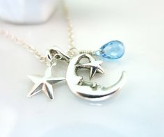 Sterling Silver Crescent Moon Swiss Blue Quartz by KBlossoms, $45.00