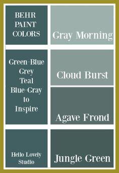 Blue Green Gray paint colors from Behr to inspire your interior design ideas for walls. Whether you love teal, aqua, grey-blue or atmospheric moody greens, try these! Light Grey Paint Colors, Green Wall Color, Behr Paint Colors, Paint Color Palettes, Neutral Paint, Blue Green Paints, Interior Wall Colors, Best White Paint, Kitchen Renovations