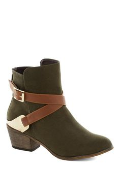 Thyme of My Life Bootie - Tan / Cream, Buckles, Safari, Mid, Chunky heel, Faux Leather, Good, Green, Solid, Casual, Fall
