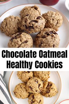Healthy Oatmeal Cookies, Vegan Chocolate Chip Cookies, Oatmeal Chocolate Chip Cookies, Plant Based Snacks, How Sweet Eats, Yummy Cookies, Flour Recipes, Vegan Recipes, Oat Flour
