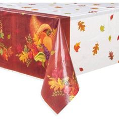 Plastic Harvest Fall Table Cover, 84 inch x 54 inch, Multicolor