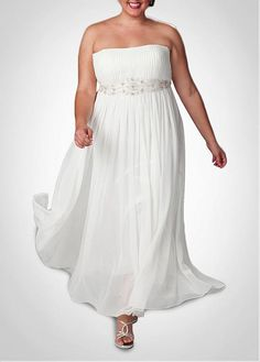 GORGEOUS CHIFFON EMPIRE STRAPLESS NECKLINE PLUS SIZE WEDDING DRESS LACE BRIDESMAID PARTY COCKTAIL GOWN