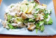 Joghurtos cézár saláta parmezánnal Salad Recipes, Diet Recipes, Healthy Recipes, Lettuce, Cobb Salad, Pesto, Potato Salad, Sandwiches, Food And Drink