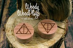 Deathly Hallows plugs from beech wood - wooden ear plugs - personalized plugs - Harry Potter plugs - custom plugs - organic ear plugs Wooden Plugs, Deathly Hallows, Body Piercing, Ear Plugs, Gauges, Woody, Place Card Holders, Candles, Etsy
