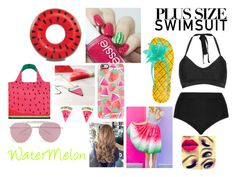 """""""Watermelon"""" by irishsnowflake14 ❤ liked on Polyvore featuring Cactus, Kate Spade, Casetify, Big Mouth, LOQI, Erstwilder, Boohoo, stylishcurves, plussizeswimsuit and TooMuchWaterMelon"""