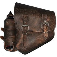 NEEDS IT!!!   La Rosa Rustic Brown Leather Left Saddle Bag with Extra Fuel Gas Bottle