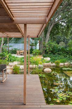Designer: Carrie Latimer Style: Water Garden Type: Private Garden Area: Cape Town Garden Types, Private Garden, Water Garden, Garden Bridge, Carrie, South Africa, Outdoor Structures, Water Gardens, Gardens