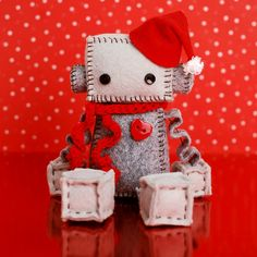 Hey, I found this really awesome Etsy listing at https://www.etsy.com/listing/166207515/christmas-plush-robot-with-hat-and-red