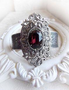 Gothic medieval burgundy Swarovski crystal cuff bracelet - READY TO SHIP - victorian bracelet gothic baroque bracelet renaissance jewelry