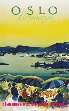 Oslo Norway - on linen by Knut Yran Utsikt fra Ekebergrestaunten Travel Ads, Travel Brochure, Travel Images, Oslo, Retro Illustration, Illustrations, Vintage Travel Posters, Vintage Ads, Type Posters
