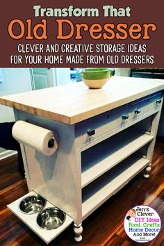 Clever and Creative Storage Ideas For Your Home Made From Old Dressers - Easy DIY Ideas to Repurpose That Old Dresser From the Thrift Store, Family Antique or Junk Cabinet without Drawers. Such great finds if you like to refinish and upcycle furniture! Diy Furniture Renovation, Diy Furniture Decor, Diy Furniture Projects, Refurbished Furniture, Repurposed Furniture, Diy Home Decor, Furniture Design, Garden Furniture, Diy Furniture Cheap