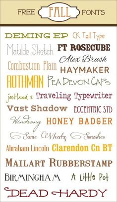 FREE Fall Fonts - great source for free fonts grouped for a season or holiday or other purpose like school fonts. Looks like other graphics also available.