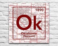Oklahoma Sooners- University of Oklahoma Norman Ok Vintage Periodic Map ART PRINT This makes the perfect graduation, Christmas, housewarming, couples or birthd
