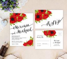 Rustic wedding invitation set featuring red poppy flowers. Poppy wedding…