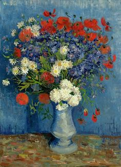 Vase with Cornflowers and Poppies. Vincent van Gogh               Private Collection 1887. 80.0 x 67.0 cm.