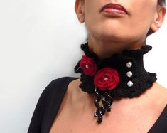 Crocheted Black Neckwarmer with Flowers and Glass Pearls  Lux