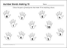 A set of worksheets where children colour and match pairs of hand prints to make number bonds to make 10 and Free Teaching Resources, Teaching Math, Teaching Ideas, Number Bonds Worksheets, Math Work, Hand Prints, Numeracy, Addition And Subtraction, School Days
