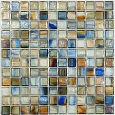 Beach tones glass tile backsplash