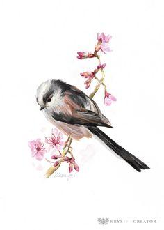 Long-tailed Tit Painting - Original Bird and Wildlife Art Autumn Painting, China Painting, Gouche Painting, Bohemian Art, Bird Drawings, Bird Pictures, Watercolor Bird, Wildlife Art, Bird Art