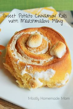 Mostly Homemade Mom: Sweet Potato Cinnamon Rolls with Marshmallow Filling