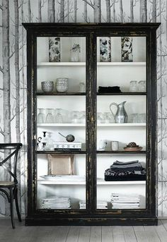 Black Elm Wood Display Cabinet - Sideboards, Cabinets and Armoires - Furniture Wood Display, Interior Exterior, Home Decor Inspiration, My Dream Home, Painted Furniture, Home Accessories, Sweet Home, House Design, House Styles