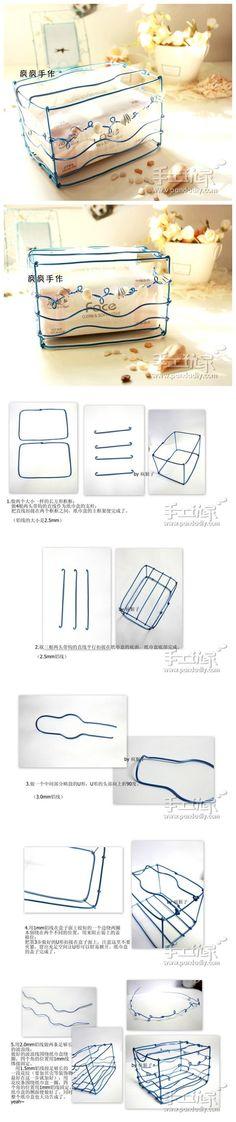 铝线做的纸巾盒,太新奇了~~