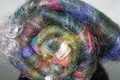 Art Batt Merino Pulled Sari Silk by expertlydyed on Etsy, $12.65