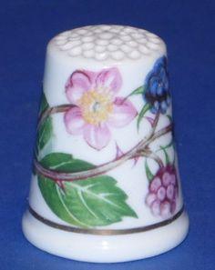 Porcelain China Collectable Thimble Chintz Design Blue Floral