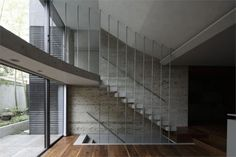 Could work in interesting way for tall, exposed exterior stair.