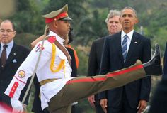 Obama rapt attention at Commie Havana Cuba  military parade 2016