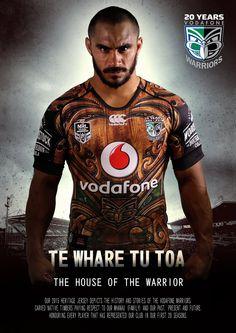 Te Whare Tu Toa heritage jersey. The Maori name translates as 'The House of the Warrior'. #Maori #WoodCarving #WarriorsForever #NRL #Heritage #NewZealand #Merchandise