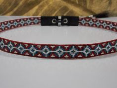 American Brave Hat Band Native American Beaded Hat Band In The American Star Pattern with the vintage colors of red white and blue by LJ Greywolf This Native American Beaded Hat Band with the American Star design is beaded with the vintage colors of flat dark red, opal white and blue
