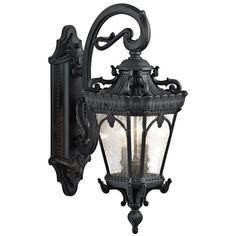 Kichler Tournai H Textured Black Candelabra Base Outdoor Wall Light at Lowe's. The Tournai™ 3 Light outdoor wall light features an ornate look with its clear seeded glass and Textured Black finish. The Tournai wall light Black Outdoor Wall Lights, Outdoor Barn Lighting, Outdoor Wall Lantern, Outdoor Wall Sconce, Wall Sconce Lighting, Outdoor Walls, Wall Sconces, Porch Lanterns, Entry Lighting