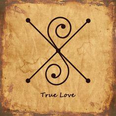 TRUE LOVE Sigil Wiccan Symbols, Magic Symbols, Symbols And Meanings, Wiccan Spells, Ancient Symbols, Love Symbols, Magick, Witchcraft, Viking Symbols