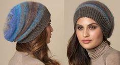 Le bonnet a rayures avec cotes 1/1 Chapeaux Bonnet Slouchy, Bonnet Rasta, Owl Hat, Beret, Elegant, Headbands, Knitted Hats, Knit Crochet, Winter Hats