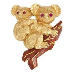 Gold, Ruby and Enamel Koala Bear Clip-Brooch, Cartier, France