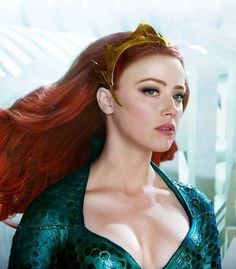 """justiceleague: """"New image of Amber Heard as Mera in """"Aquaman"""" """" Mera Dc, Red Lace Front Wig, Harley Queen, Jenifer Aniston, Red Wigs, Comic Movies, Beautiful Redhead, Blonde Balayage, Celebs"""
