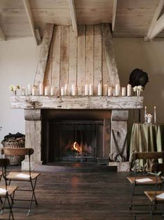 Love this fireplace & hardwood floors!