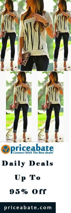 #priceabatedeals Sexy Womens Short Sleeve Loose White T Shirt Summer Casual  Lover Tops Blouse  - Buy This Item Now For Only: $5.99