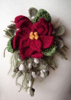 Crochet poinsettia corsage by meekssandygirl.deviantart.com