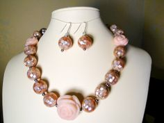 Mosaic Pink Shell and Carved Pink Opal Flower Necklace and Earrings  by TrueEarthDesigns  #PinkShell