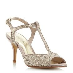 Roland Cartier Gold glitter 'Halisco' glitter t-bar heeled sandal- at Debenhams.com