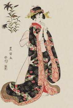 Iris; Woman Holding A Letter. Ukiyo-e woodblock print. 1812, Japan. Artist Utagawa Toyokuni I