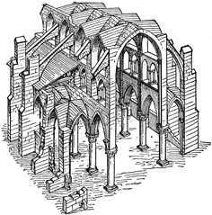 Constructive System Of A Gothic Church Illustrating The Principles Isolated Supports And Buttressing