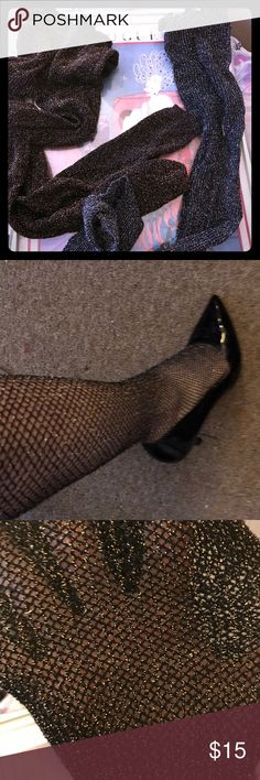 2 Pairs of Sparkly Fishnet Tights NWOT Never worn. Hue Tights Size Medium (there's no tag but I've never bought tights in any other size). One Gold one Silver. Only put one pair halfway up my leg for picture. Make an offer! HUE Accessories Hosiery & Socks