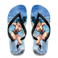 These Wonder Woman flip flops feature the Amazonian Princess in action.  These rubber, waterproof thongs are great for the beach, pool, or just to wear around the house and feature a contoured strap for comfort.